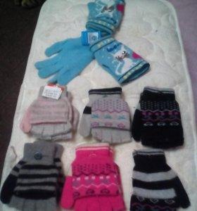 Перчатки+ рукавички новые