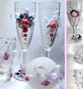 """Комплект свадебный """"розовые розы"""""""