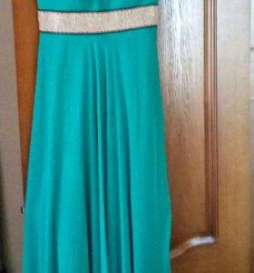 Платье вечернее, красивый бирюзовый цвет.