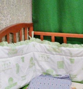 Бортики в кроватку+подарок 5 пелёнок