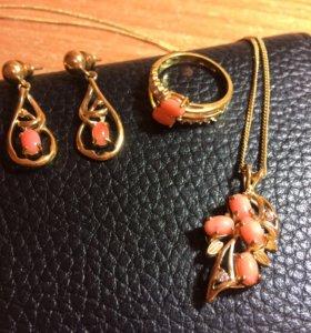 Бижутерия кольцо, серьги и подвеска