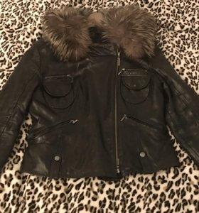 Куртка-пихора кожаная зимняя с капюшоном