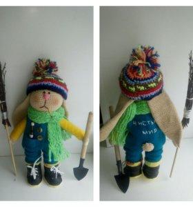 Текстильная кукла ручной работы, в наличии