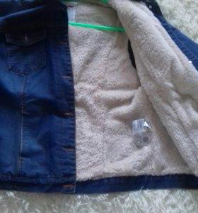 Куртка теплая джинсовая