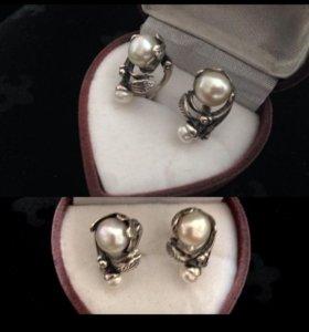 с жемчугом серебро 925 проба застежка ангийская