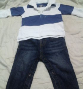 Джинсы 62-74, рубашка утеплённая