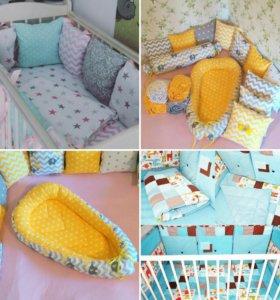 Комплект в кроватку, буквы-подушки, постельн.белье