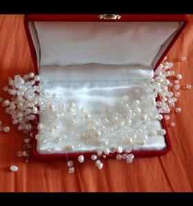 Ожерелье жемчуг,натуральный, праздничное