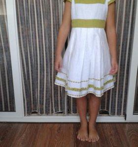 Очень красивое льняное платье. Рост 122см