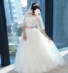 Свадебное платье+фата+болеро+диадема
