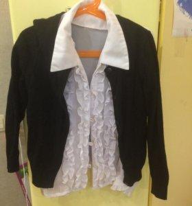 Блузка нарядная для девочки и кардиган