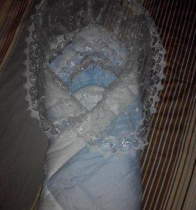 Конверт-одеяло на выписку с шапочкой
