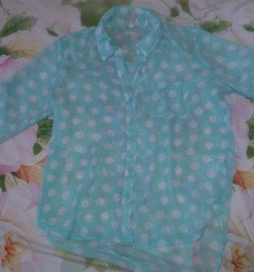 Блуза в горошек мятного цвета