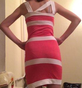 Платье-сарафан коралловое