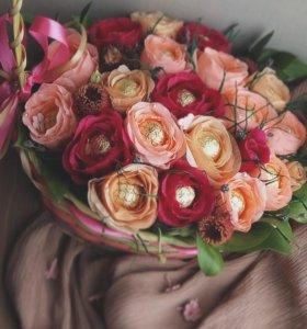 Цветочные подарки из конфет