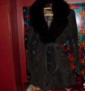 Куртка нубук с мехом песца пальто