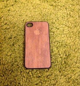 Чехол на 4 айфон деревянный