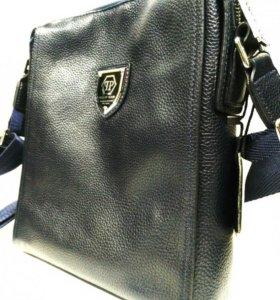 Кожаная мужская сумка планшет Филипп Philipp Plein