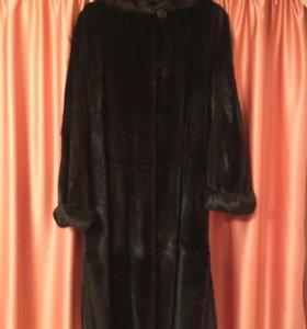 Шуба норковая темно-коричневая