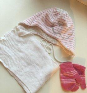 Шапка шарф варежки