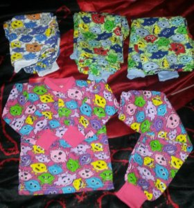 Детские пижамки с начемом, теплые 100%хлопок