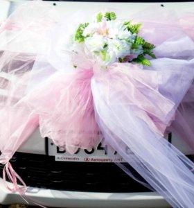 Красивый свадебный бант на машину