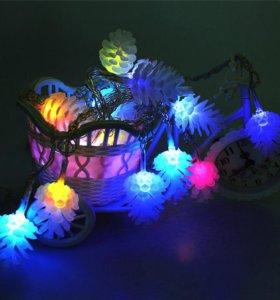 Гирлянда LED,  шишки