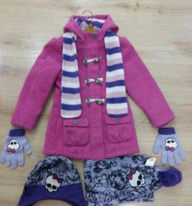 Пальто,шапка,шарф,перчатки