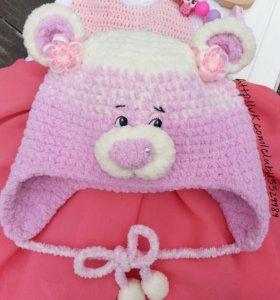 Детская зимняя шапочка - Мишутка