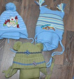 Шапки с шарфами на мальчика от 1,5 до 3х лет