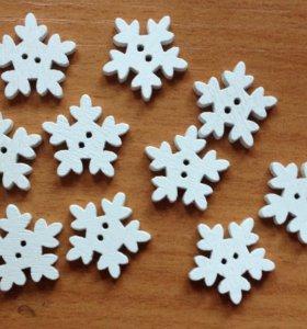 Снежинки деревянные 10 шт