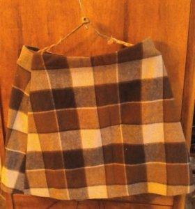 Шерстяная юбка на подкладке,запахивается