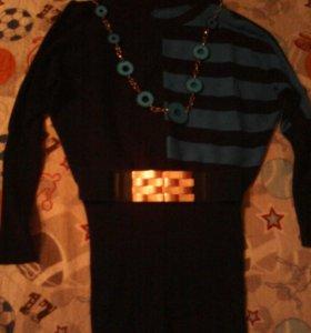 Платье с поясом, в комплект входят бусы