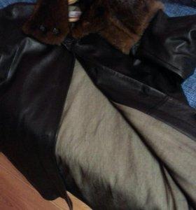 Кожанное пальто с мехом норки