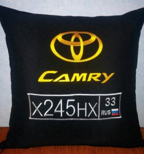 Автомобильная подушка с вышивкой