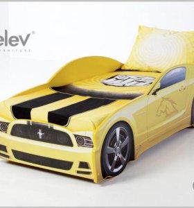 Кровать-машина Мустанг (цвет желтый)