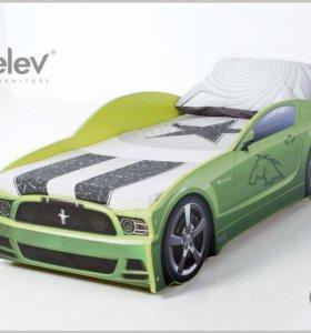 Кровать-машина Мустанг (цвет зеленый)