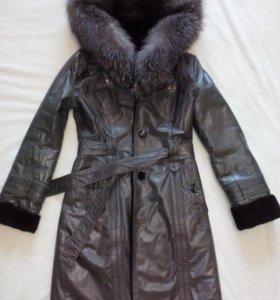 Кожаная дубленка-пальто