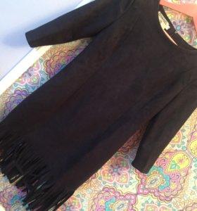 Платье с бахромой под замшу