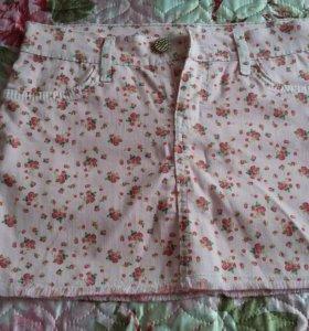 Юбка розовая в цветок