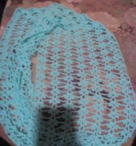 Новый вязаный шарф снуд.