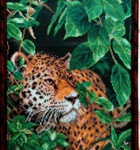 """Вышивка крестом ручной работы """"Леопард"""""""