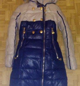 Пальто зимнее с мехом и поясом