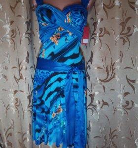 Синие сарафаны с цветочным принтом