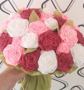 Букет с цветочками из гофре