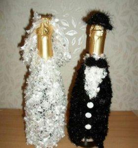 Свадебное оформление шампанского