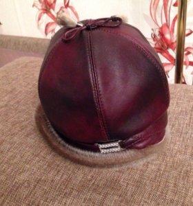 Зимняя шапка - натуральная кожа + норка