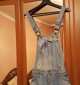 Джинсовая юбка комбинезон
