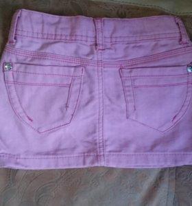 Джинсовая розовая юбка