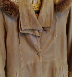 Кожаный плащ-пальто.
